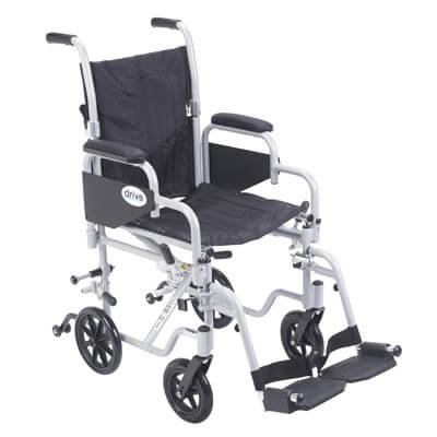 Drive Medical Poly Fly Light Weight Transport Chair Wheelchair with Swing away Footrest Model tr16