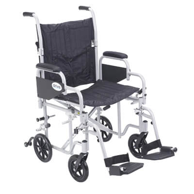 Drive Medical Poly Fly Light Weight Transport Chair Wheelchair with Swing away Footrest tr20