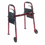 Drive Medical Portable Folding Travel Walker with 5 inch Wheels and Fold up Legs rtl10263kdr