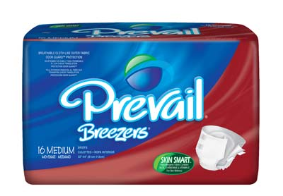 Prevail® Breezers Adult Briefs, Medium 32-44 in - 96 cs (6x16ea)