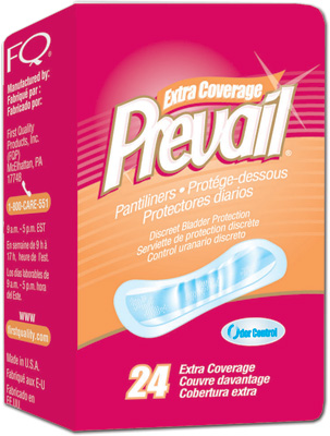 Prevail Pantiliner Thin Discreet Bladder Control Pad, 3x7.5 - 312 cs (12x26ea)