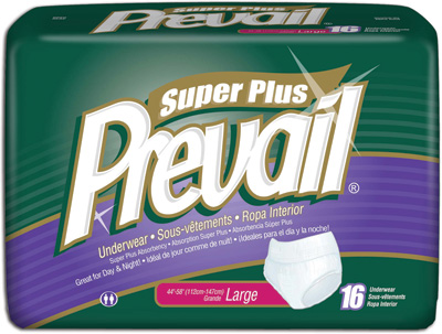 Prevail® Super Absorbent, Pull Up, Protective Underwear, Large 44-58 in - 64 cs (4x16ea)