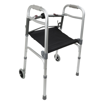 ProBasics Aluminum Adult Walker 2 Button w/ seat and w/ wheels 300 lb Weight Cap WKAAW2BST