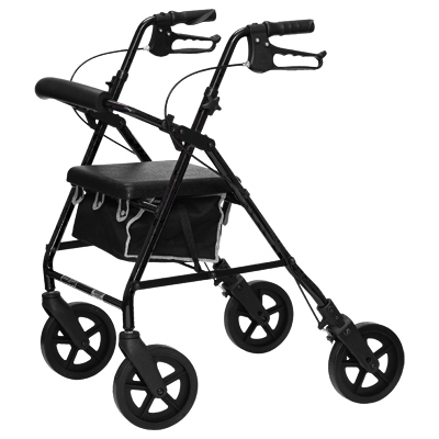 ProBasics Aluminum Rollator, 8 in Wheels, Black, 300 lb Weight Capacity RLA8BK