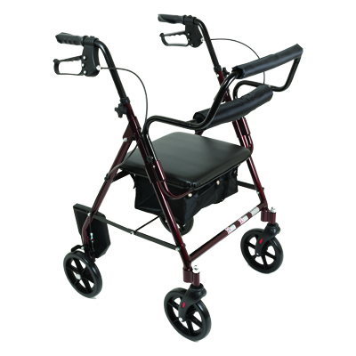 ProBasics Aluminum Transport Rollator, 8 in Wheels, Burgundy, 250 lb Weight Capacity  RLATBG