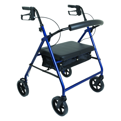 ProBasics Bariatric Aluminum Rollator, 8 in Wheels, Blue, 400 lb Weight Capacity RLAB8BL