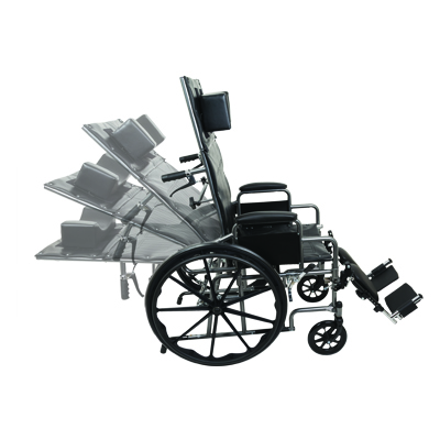 ProBasics Reclining Wheelchair, 16 in x 16 in, Removable desk arms and ELRs WCR1616E