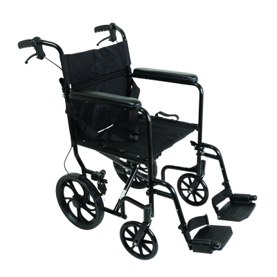 ProBasics Transport Chair Aluminum 1 9in w/ 12 in rear wheels Black TCA191612BK