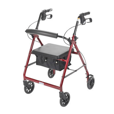 Drive Medical Red Rollator Walker with Fold Up and Removable Back Support and Padded Seat r726rd