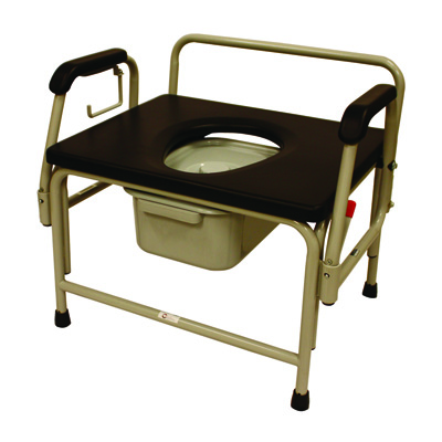 Roscoe Medical Bariatric Drop-Arm Commode Color: White/Black 36 in