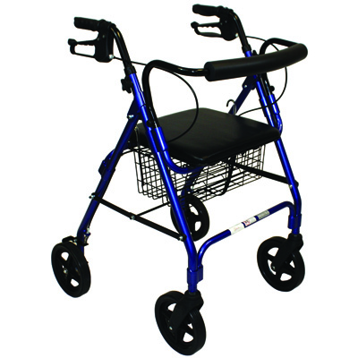 Roscoe Medical Deluxe Rollator with Padded Seat Color: Blue