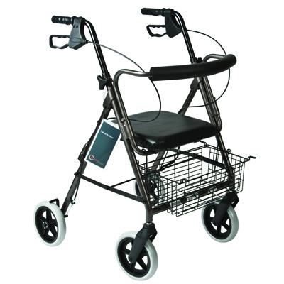 Roscoe Medical Deluxe Rollator with Padded Seat Color: Granite Gray