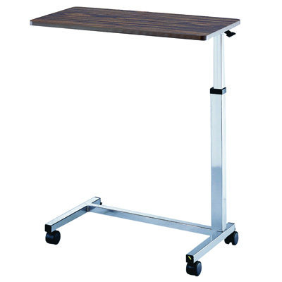 Roscoe Medical Non-Tilt Overbed Table Color: Brown and Chrome