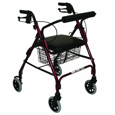 Roscoe Medical Rollator with Padded Seat Color: Burgundy