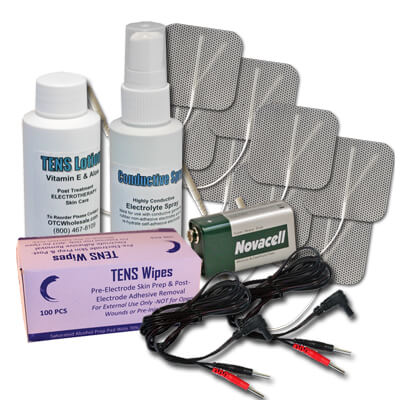 Roscoe Medical TENS Unit Kit, Electrode Pads (x8), Wires (x2), Spray, Lotion, Prep Pads & 9V Battery
