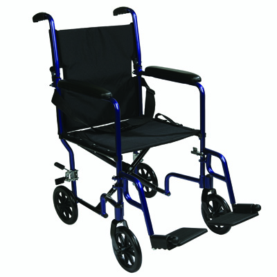 Roscoe Medical Transport Chair Color: Chrome, Blue