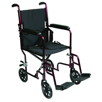 Roscoe Medical Transport Chair Color: Chrome Burgundy