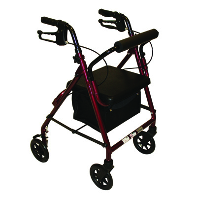 Roscoe Medical Z600J Junior Rollator with Padded Seat Color: Burgundy