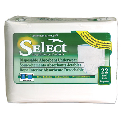 Select Disposable Absorbent Underwear - Small - 2604