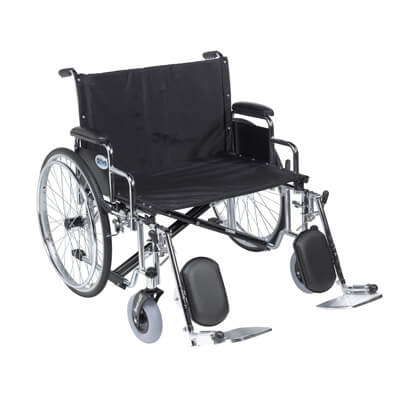 Drive Medical Sentra EC Heavy Duty Extra Wide Wheelchair, Detachable Desk Arms, Elevating Leg Rests, 28 in Seat