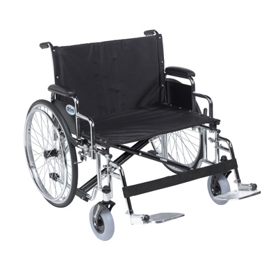 Drive Medical Sentra EC Heavy Duty Extra Wide Wheelchair, Detachable Desk Arms, Swing away Footrests, 26 in Seat