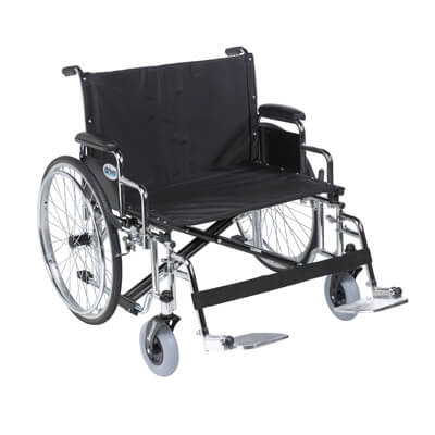 Drive Medical Sentra EC Heavy Duty Extra Wide Wheelchair, Detachable Desk Arms, Swing away Footrests, 28 in Seat