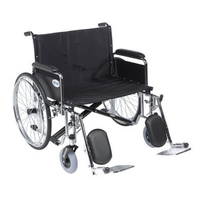 Drive Medical Sentra EC Heavy Duty Extra Wide Wheelchair, Detachable Full Arms, Elevating Leg Rests, 26 in Seat