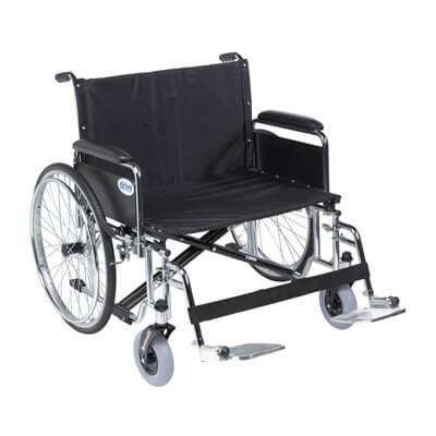 Drive Medical Sentra EC Heavy Duty Extra Wide Wheelchair, Detachable Full Arms, Swing away Footrests, 28 in Seat