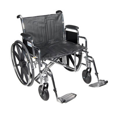 Drive Medical Sentra EC Heavy Duty Wheelchair with Detachable Desk Arms and Swing Away Footrest std22ecdda-sf