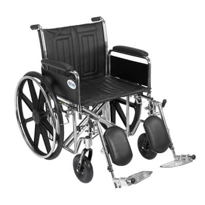 Drive Medical Sentra EC Heavy Duty Wheelchair with Detachable Full Arms and Elevating Leg Rest std20ecdfahd-elr