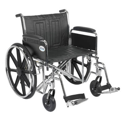 Drive Medical Sentra EC Heavy Duty Wheelchair with Detachable Full Arms and Swing Away Footrest std24ecdfa-sf