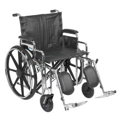 Drive Medical Sentra Extra Heavy Duty Wheelchair with Detachable Desk Arms and Elevating Leg Rest std22dda-elr
