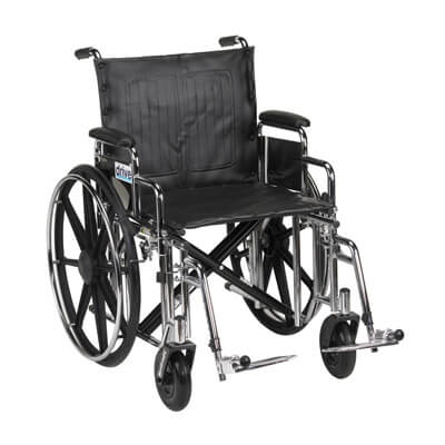 Drive Medical Sentra Extra Heavy Duty Wheelchair with Detachable Desk Arms and Swing Away Footrest std20dda-sf
