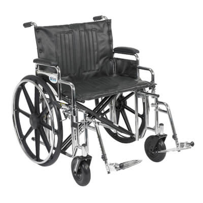 Drive Medical Sentra Extra Heavy Duty Wheelchair with Detachable Desk Arms and Swing Away Footrest std24dda-sf