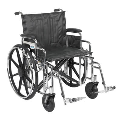 Drive Medical Sentra Extra Heavy Duty Wheelchair with Detachable Desk Arms and Swing Away Footrest std22dda-sf