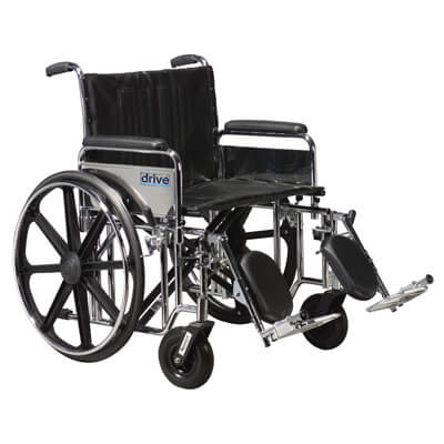 Drive Medical Sentra Extra Heavy Duty Wheelchair with Detachable Full Arms and Elevating Leg Rest std20dfa-elr
