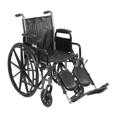 Drive Medical Silver Sport 2 Wheelchair with Detachable Desk Arms and Elevating Leg Rest ssp218dda-elr
