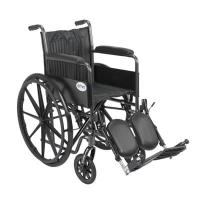 Drive Medical Silver Sport 2 Wheelchair with Elevating Foot Rest ssp218fa-elr