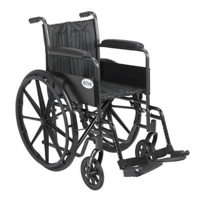 Drive Medical Silver Sport 2 Wheelchair with Swing Away Footrest ssp218fa-sf