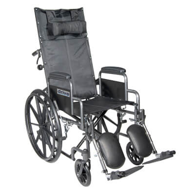 Drive Medical Silver Sport Reclining Wheelchair with Detachable Desk Length Arms and Elevating Leg rest ssp16rbdda