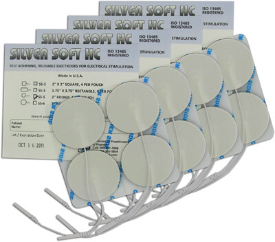 DuraTENS (Formerly SilverSoft HC Premium) TENS Silver Electrodes 2 in Round, White Foam Backed - 16 Pads