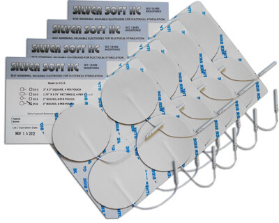 Silver Soft HC TENS Silver Electrodes 3 in Round, White Foam Backed - 16 Pads