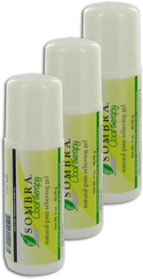 Sombra Cool Therapy Natural Pain Relieving Gel Roll-On - 3 oz (3 Pack)