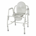 Drive Medical Steel Drop Arm Bedside Commode with Padded Arms 11125kd-1