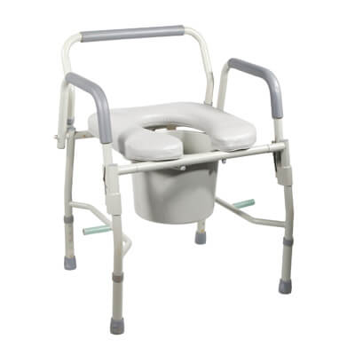 Drive Medical Steel Drop Arm Bedside Commode with Padded Seat & Arms 11125pskd-1