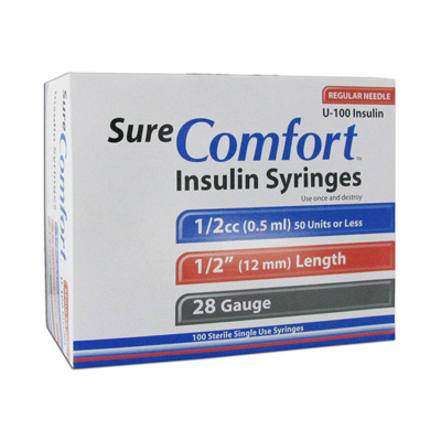 Sure Comfort Insulin Syringes - 28 G, 0.5 cc, 1/2 in - 100 ea - 22-8005