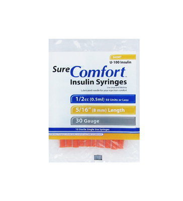 Sure Comfort 30 Gauge 0.5 cc 5/16 in Insulin Syringes - 10 ea