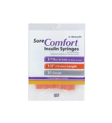 Sure Comfort 30 Gauge 0.3 cc 1/2 in Insulin Syringes - 10 ea