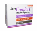 Sure Comfort 29 Gauge 0.3 cc 1/2 in Insulin Syringes - 100 ea 22-9003