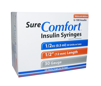 Sure Comfort 30 Gauge 0.5 cc 1/2 in Insulin Syringes - 100 ea 20-6205